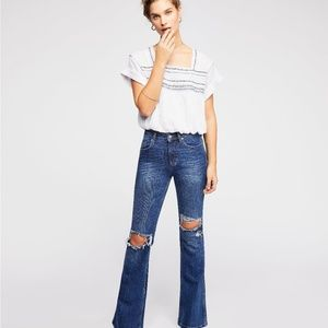 NWT Free People High Rise Flare Jeans 24